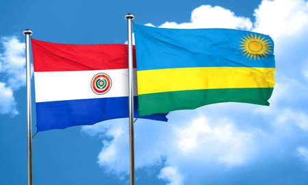 bandera de paraguay: bandera de Paraguay con la bandera de Ruanda, 3D Foto de archivo