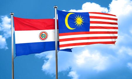 bandera de paraguay: bandera de Paraguay con la bandera de Malasia, 3D