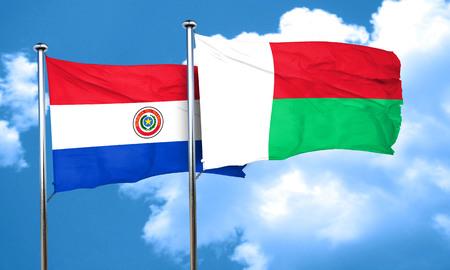 bandera de paraguay: bandera de Paraguay con la bandera de Madagascar, 3D