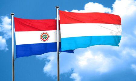 bandera de paraguay: bandera de Paraguay con la bandera de Luxemburgo, 3D