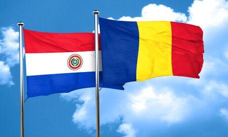 bandera de paraguay: bandera de Paraguay con bandera de Rumania, 3D