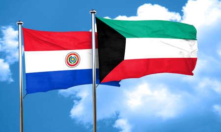 bandera de paraguay: bandera de Paraguay con la bandera de Kuwait, 3D