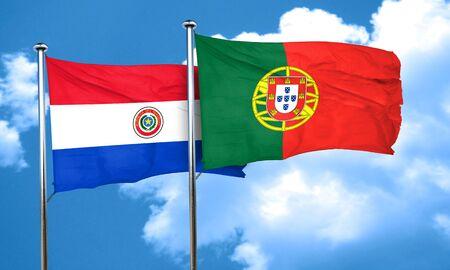 bandera de paraguay: bandera de Paraguay con la bandera de Portugal, 3D