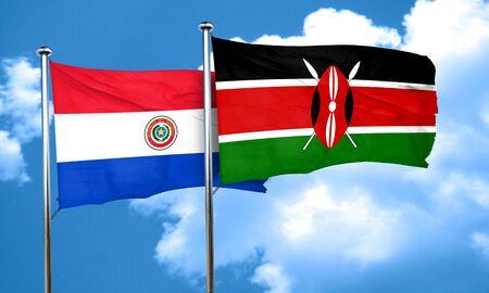 bandera de paraguay: bandera de Paraguay con bandera de Kenia, 3D
