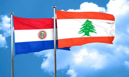 bandera de paraguay: bandera de Paraguay con la bandera de L�bano, representaci�n 3D