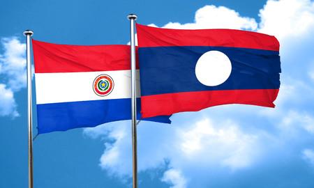 bandera de paraguay: bandera de Paraguay con la bandera de Laos, 3D