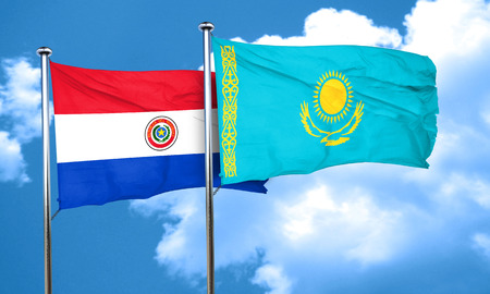 bandera de paraguay: bandera de Paraguay con la bandera de Kazajstán, 3D Foto de archivo