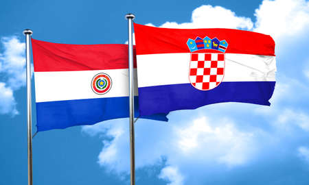 bandera de paraguay: Paraguay flag with Croatia flag, 3D rendering