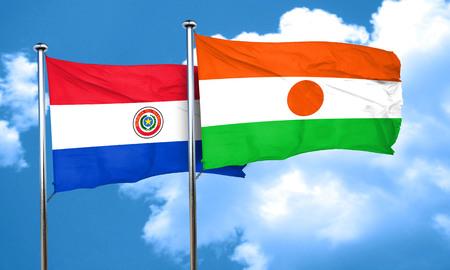 bandera de paraguay: bandera de Paraguay con bandera de Niger, 3D