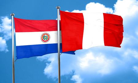 bandera de paraguay: bandera de Paraguay con la bandera de Perú, 3D