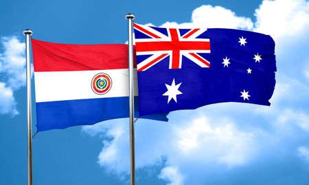 australia flag: Paraguay flag with Australia flag, 3D rendering Stock Photo