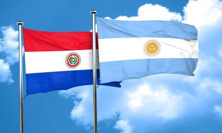 bandera de paraguay: bandera de Paraguay con la bandera argentina, 3D Foto de archivo