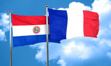 bandera de paraguay: bandera de Paraguay con la bandera de Francia, 3D