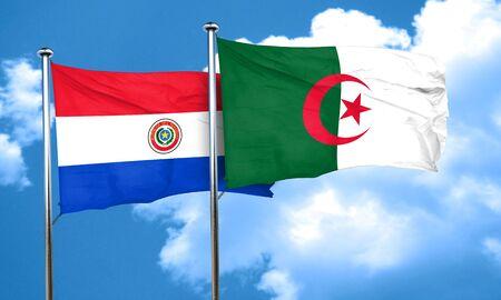bandera de paraguay: bandera de Paraguay con la bandera de Argelia, 3D Foto de archivo