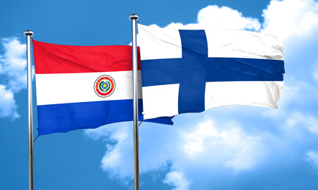 finland flag: Paraguay flag with Finland flag, 3D rendering