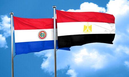 bandera de paraguay: bandera de Paraguay con la bandera de Egipto, 3D