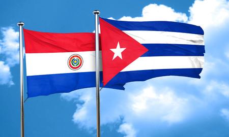 cuba flag: Paraguay flag with cuba flag, 3D rendering Stock Photo