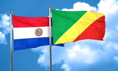 bandera de paraguay: bandera de Paraguay con la bandera de congo, 3D
