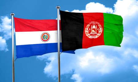 bandera de paraguay: bandera de Paraguay con la bandera de Afganist�n, 3D Foto de archivo