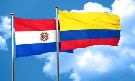 bandera de paraguay: bandera de Paraguay con la bandera de Colombia, 3D Foto de archivo