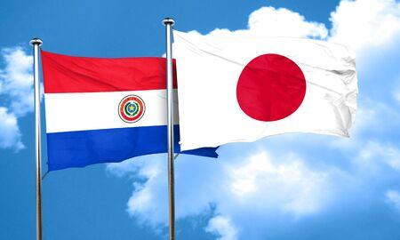 bandera de paraguay: bandera de Paraguay con la bandera de Japón, 3D Foto de archivo