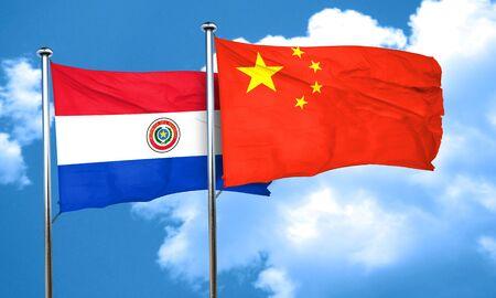 bandera de paraguay: bandera de Paraguay con la bandera de China, 3D Foto de archivo
