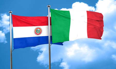 bandera de paraguay: bandera de Paraguay con la bandera de Italia, 3D Foto de archivo