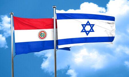 bandera de paraguay: bandera de Paraguay con la bandera de Israel, 3D
