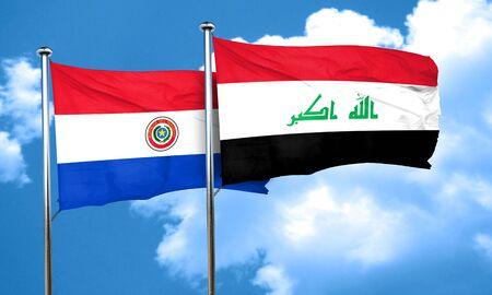 bandera de paraguay: bandera de Paraguay con la bandera de Irak, 3D
