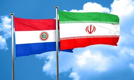 bandera de paraguay: bandera de Paraguay con la bandera de Ir�n, 3D