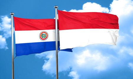 bandera de paraguay: bandera de Paraguay con la bandera de Indonesia, 3D