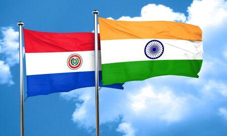 bandera de paraguay: bandera de Paraguay con bandera de la India, 3D Foto de archivo
