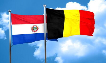 bandera de paraguay: bandera de Paraguay con la bandera de Bélgica, 3D