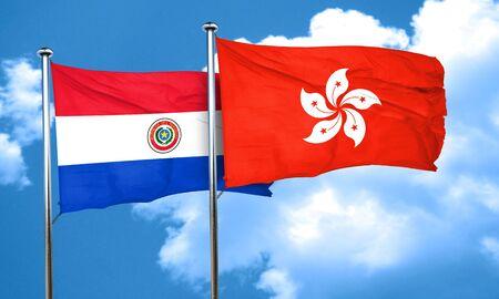 bandera de paraguay: bandera de Paraguay con la bandera de Hong Kong, 3D