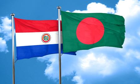 bandera de paraguay: bandera de Paraguay con la bandera de Bangladesh, 3D Foto de archivo