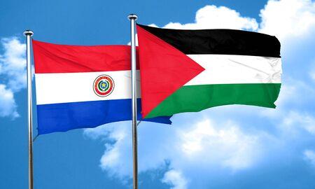 bandera de paraguay: bandera de Paraguay con la bandera de Palestina, 3D