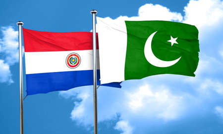 bandera de paraguay: Paraguay flag with Pakistan flag, 3D rendering