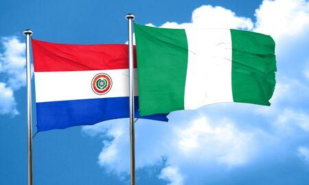 bandera de paraguay: bandera de Paraguay con la bandera de Nigeria, 3D
