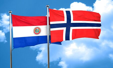 norway flag: Paraguay flag with Norway flag, 3D rendering