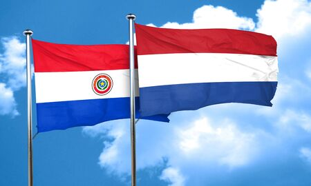 netherlands flag: Paraguay flag with Netherlands flag, 3D rendering Stock Photo