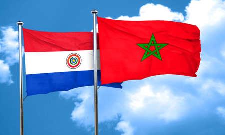 bandera de paraguay: bandera de Paraguay con bandera de Marruecos, 3D
