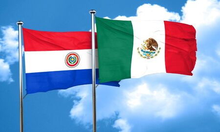 bandera de paraguay: bandera de Paraguay con la bandera de México, 3D