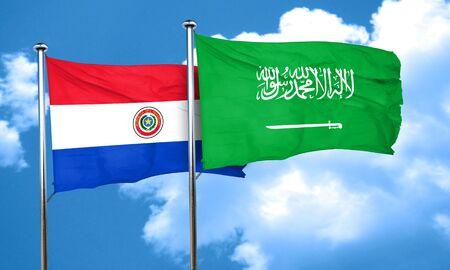 bandera de paraguay: Paraguay flag with Saudi Arabia flag, 3D rendering