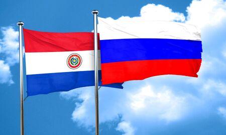 bandera de paraguay: bandera de Paraguay con bandera de Rusia, 3D Foto de archivo
