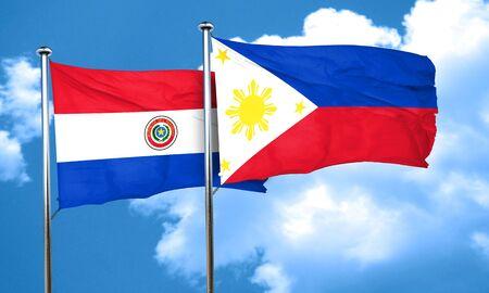 bandera de paraguay: bandera de Paraguay con la bandera de Filipinas, 3D