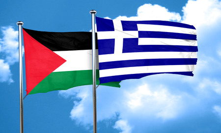 greece flag: palestine flag with Greece flag, 3D rendering Stock Photo