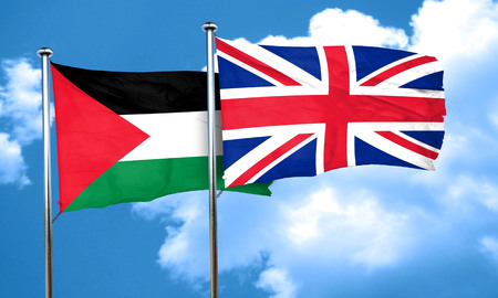 palestine flag with Great Britain flag, 3D rendering
