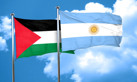 palestine flag with Argentine flag, 3D rendering Imagens
