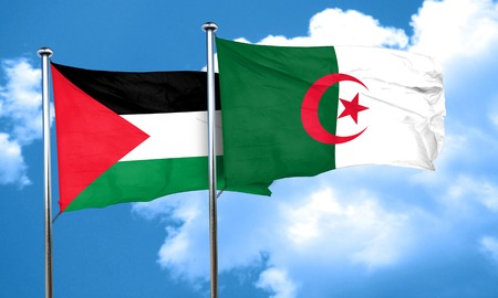 palestine flag with Algeria flag, 3D rendering Imagens