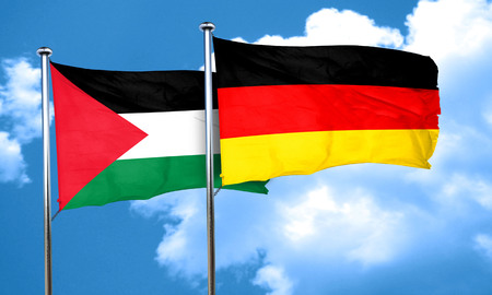palestine flag with Germany flag, 3D rendering